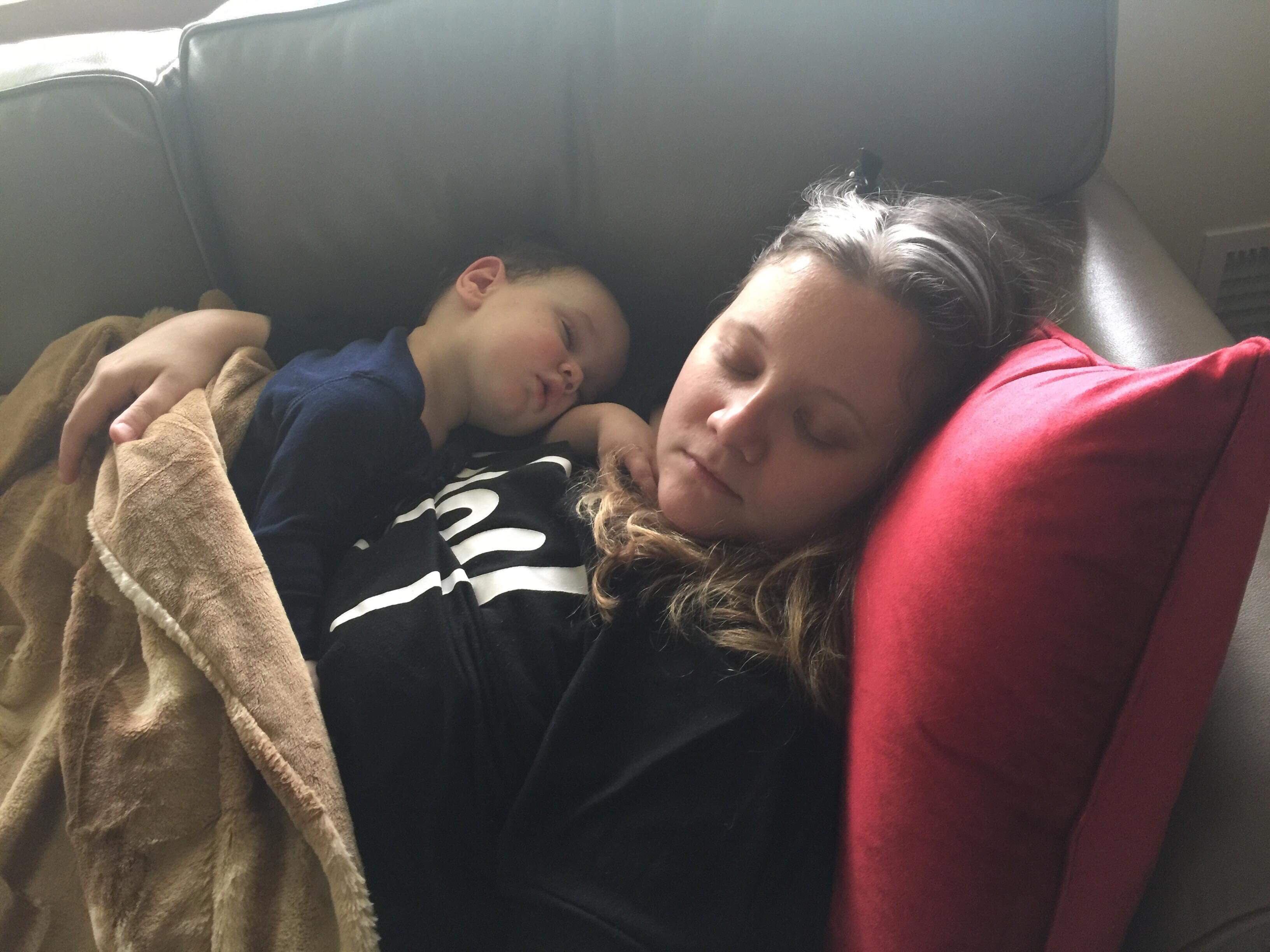 sleeping me and logan